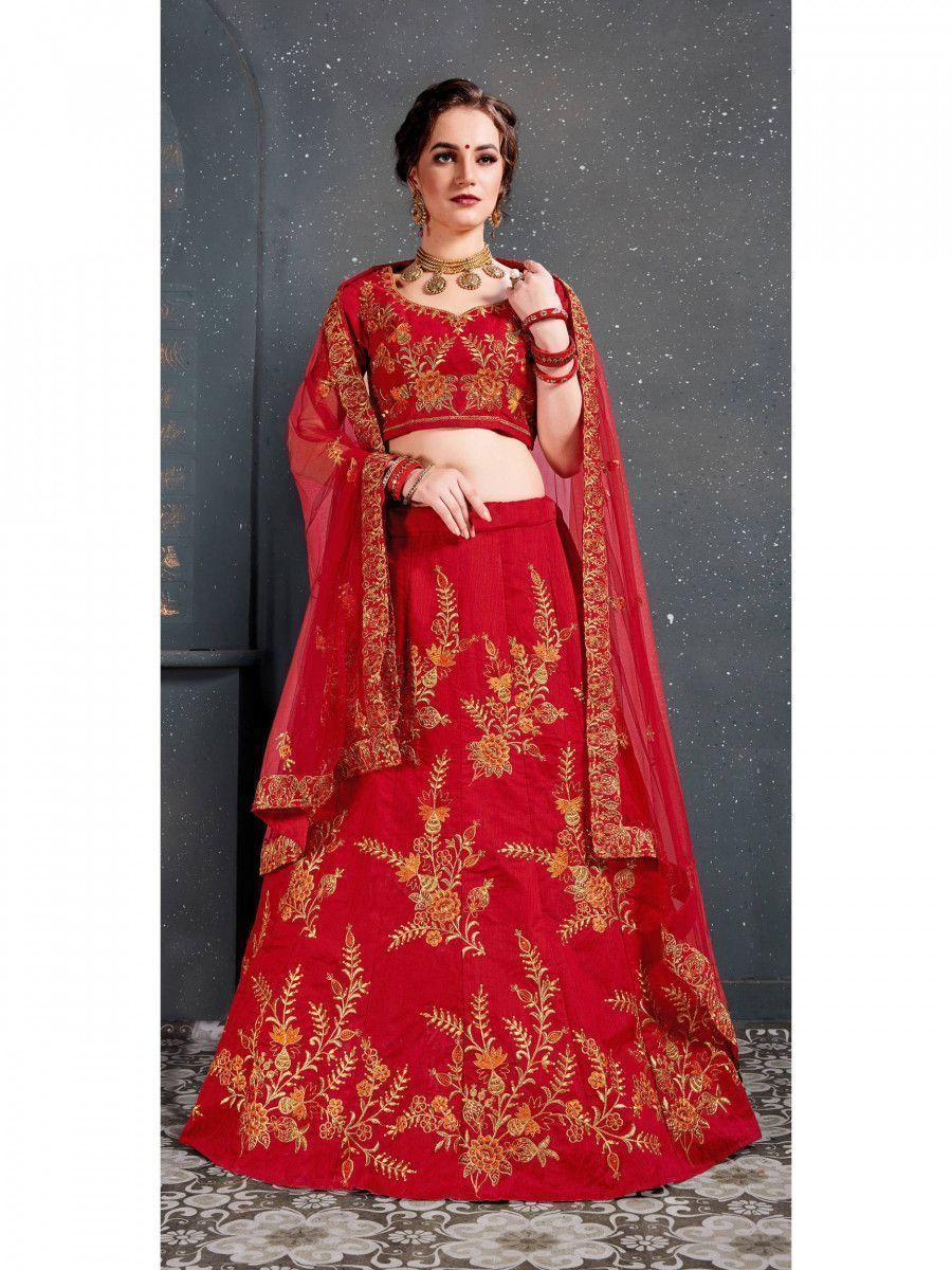 Red Embroidered Slub Silk Bridal Lehenga Choli