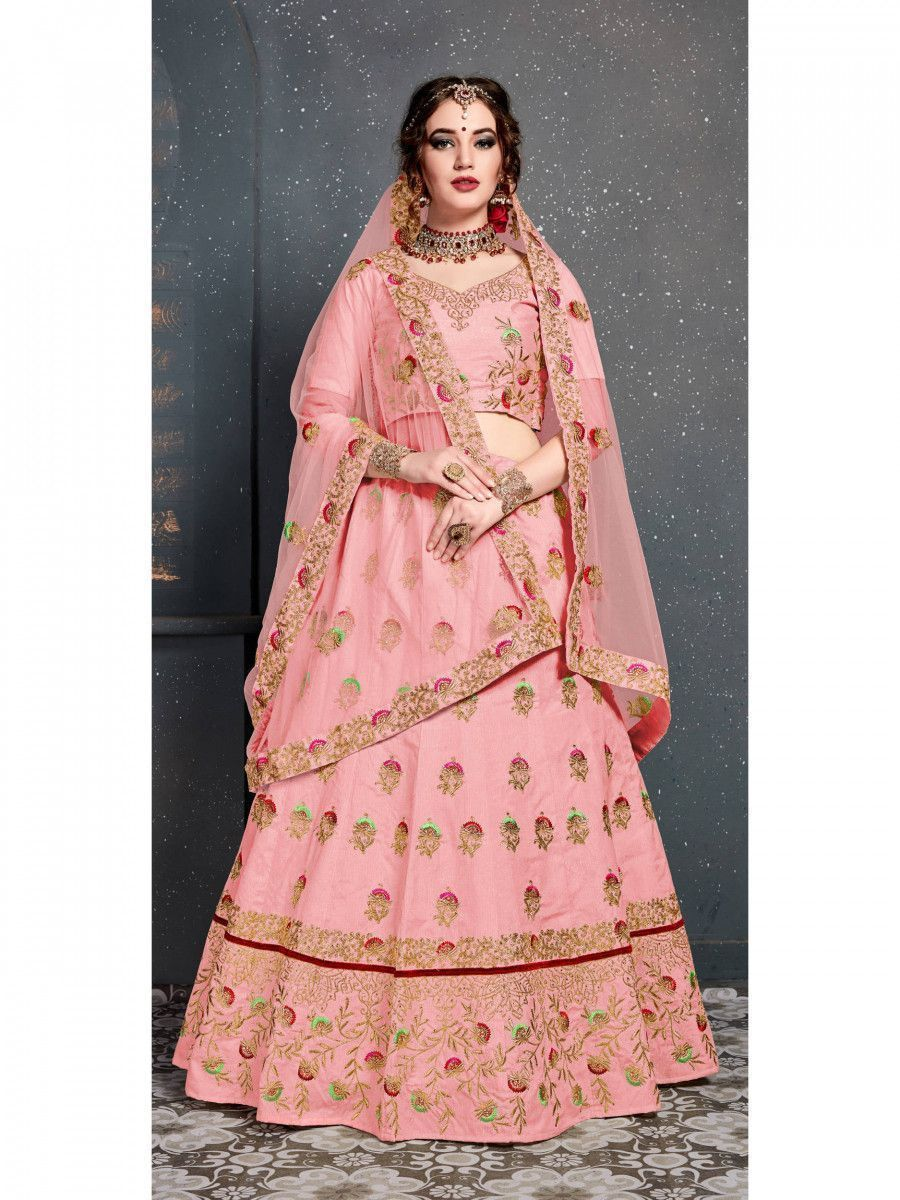Baby Pink Embroidered Silk Bridal Lehenga Choli