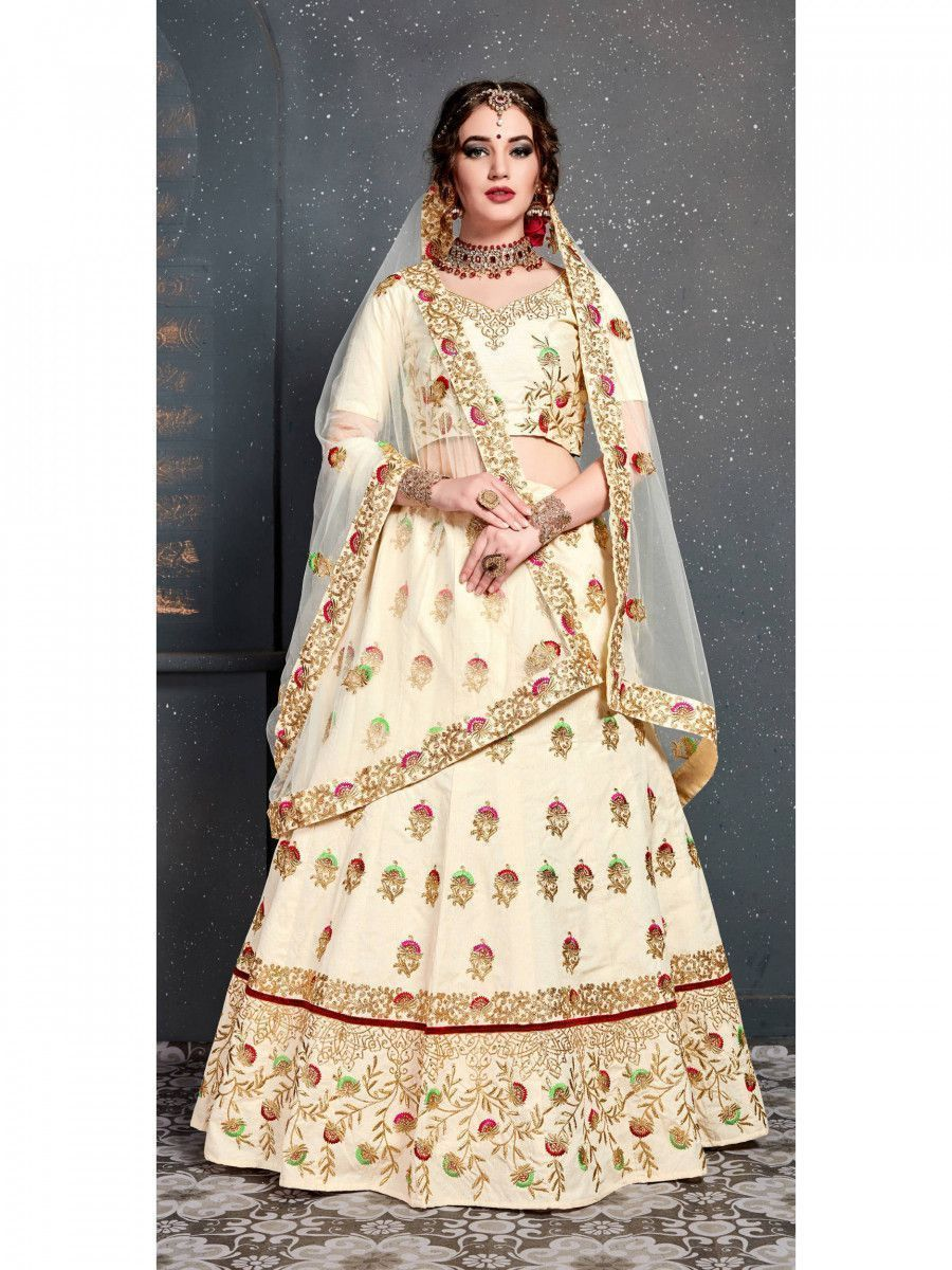 Cream Embroidered Silk Bridal Lehenga Choli