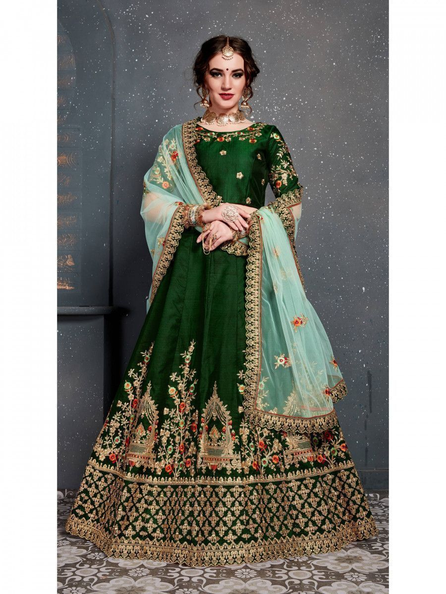 Bottle Green Embroidered Silk Bridal Lehenga Choli