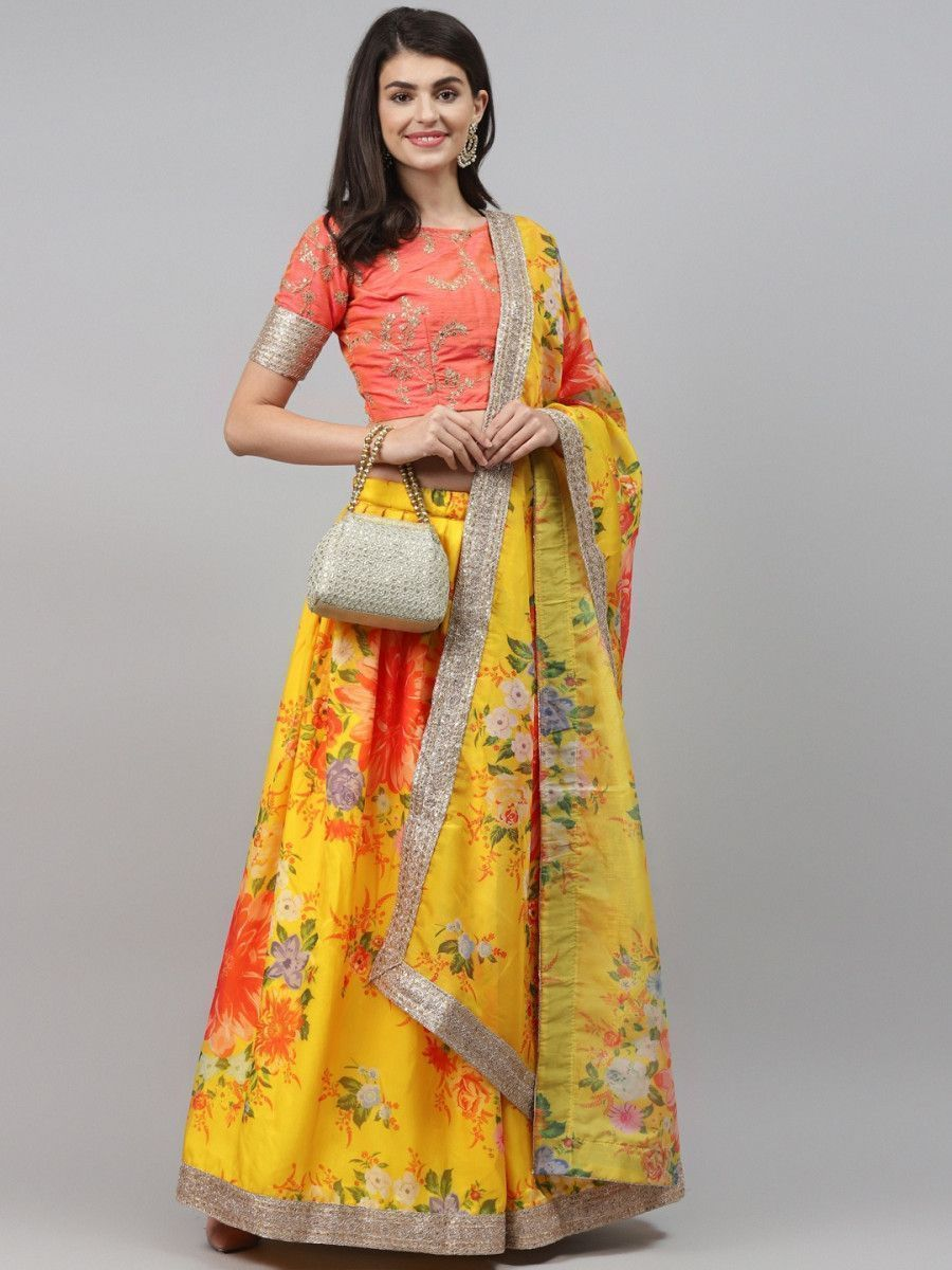 Yellow & Orange Embroidered Semi-Stitched Myntra Lehenga & Unstitched Blouse with Dupatta
