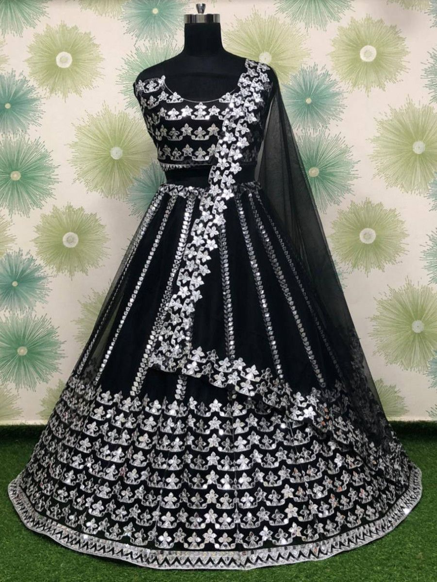 Black Foil Work Net Party Wear Lehenga Choli