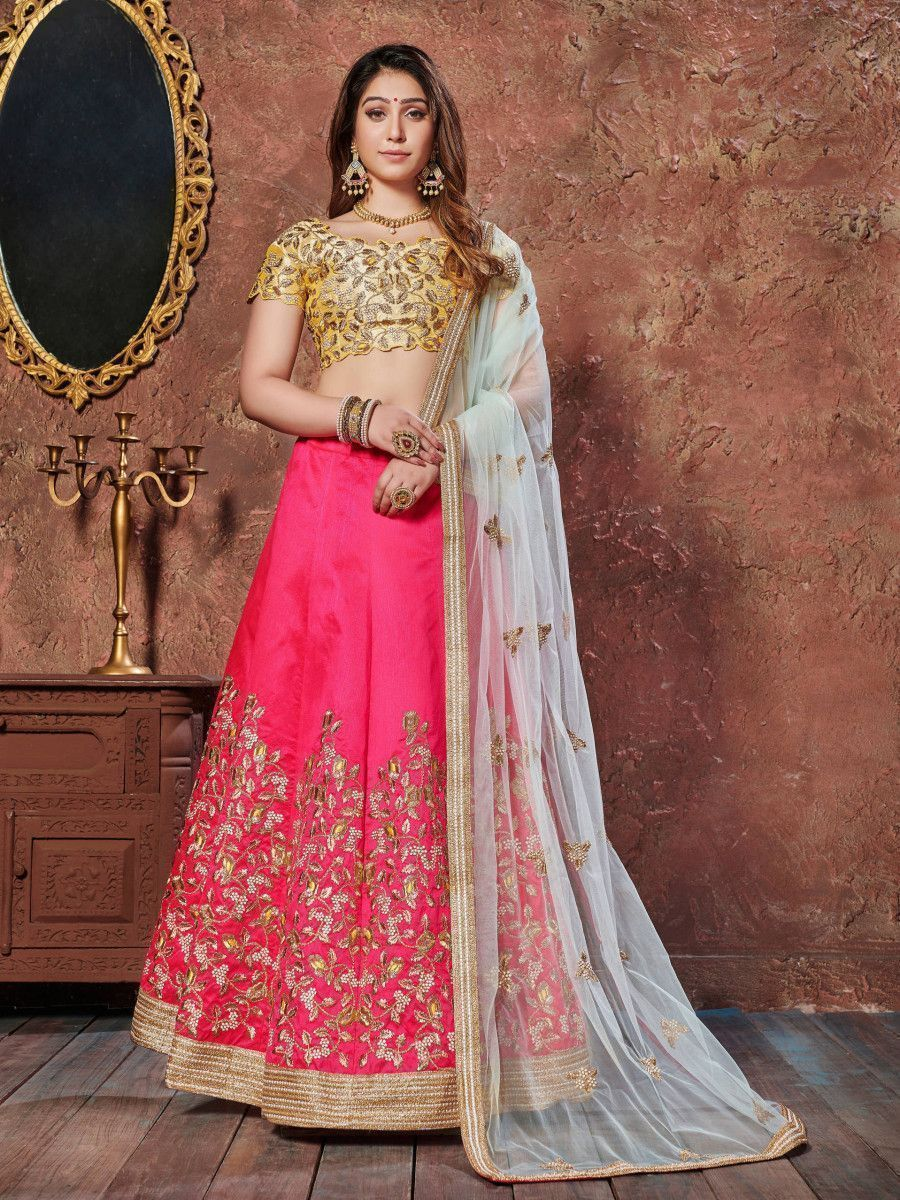 Pink Thread Embroidery Silk Bridal Lehenga With Yellow Choli and Dupatta