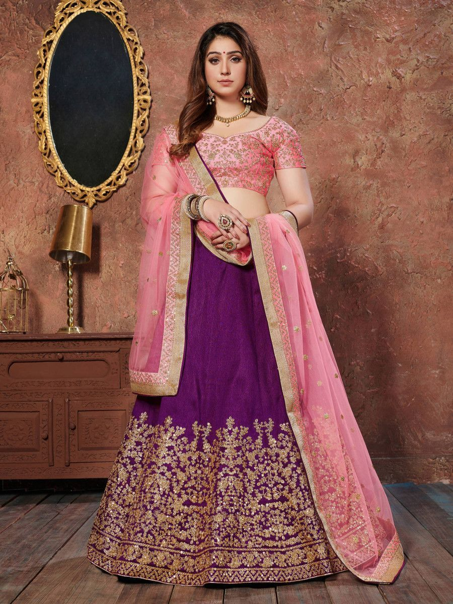 Purple Sequins Silk Wedding Lehenga With Pastel Pink Choli and Dupatta
