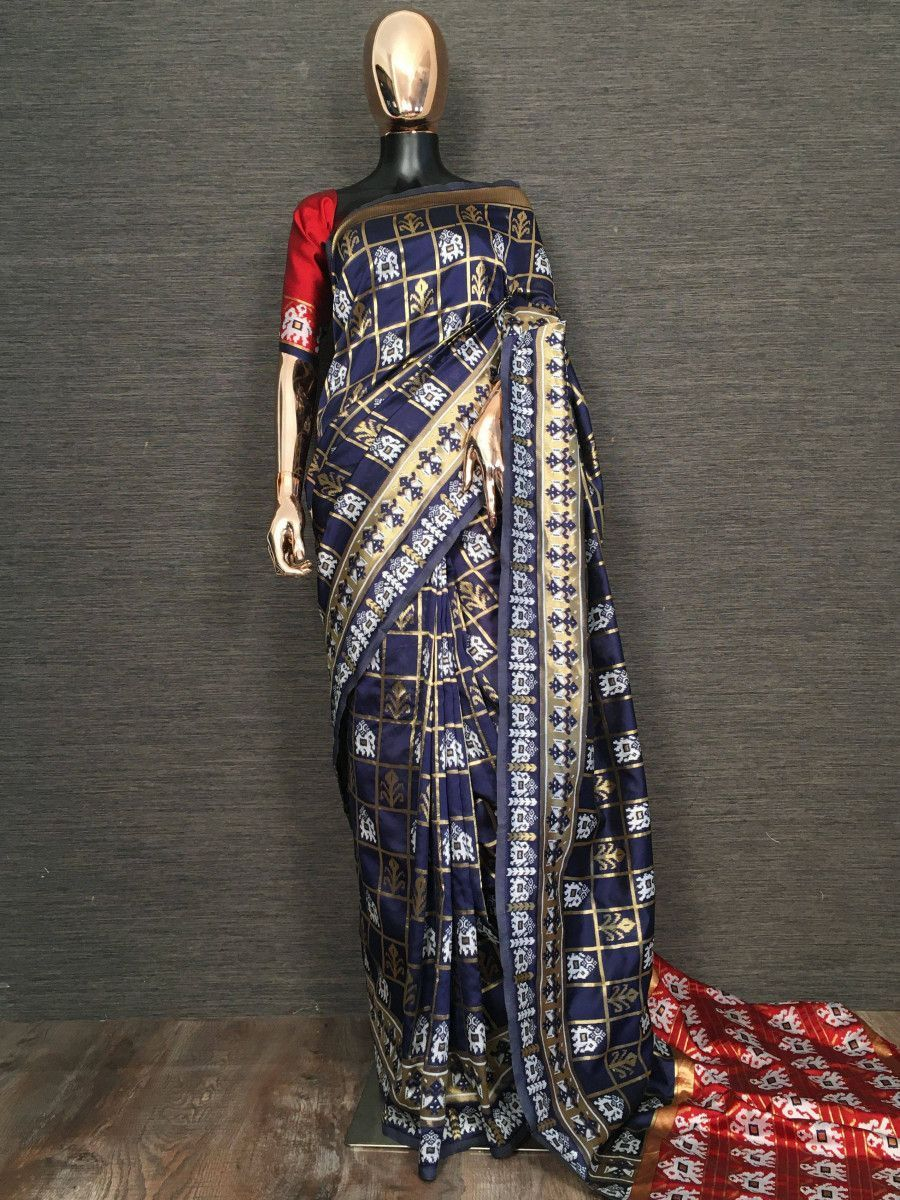 Navy Blue Weaving Patola Festival Wear Saree With Blouse