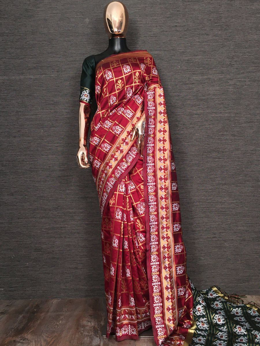 Red Weaving Patola Festival Wear Saree With Blouse
