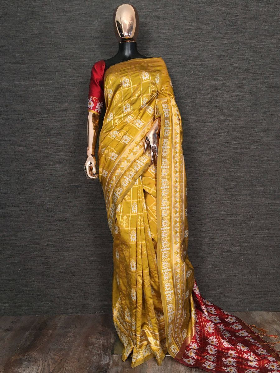 Yellow Weaving Patola Festival Wear Saree With Blouse