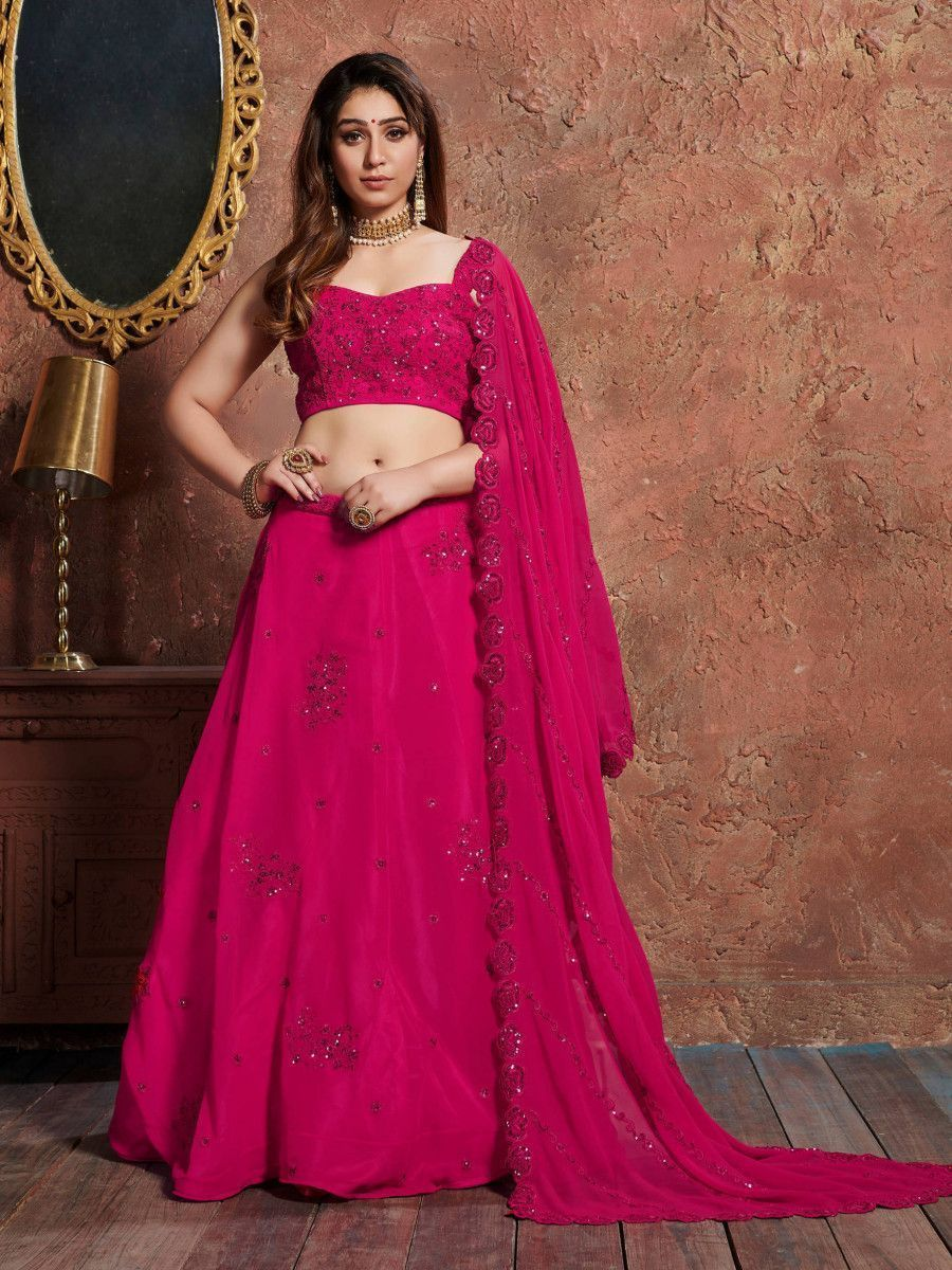 Pink Sequins Georgette Wedding Lehenga Choli With Dupatta