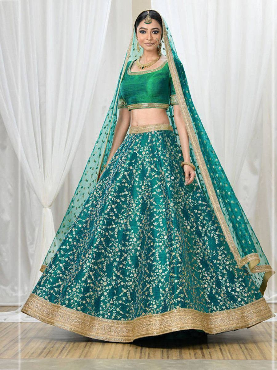 Teal Green Zari Embroidered Bridal Lehenga Choli With Dupatta