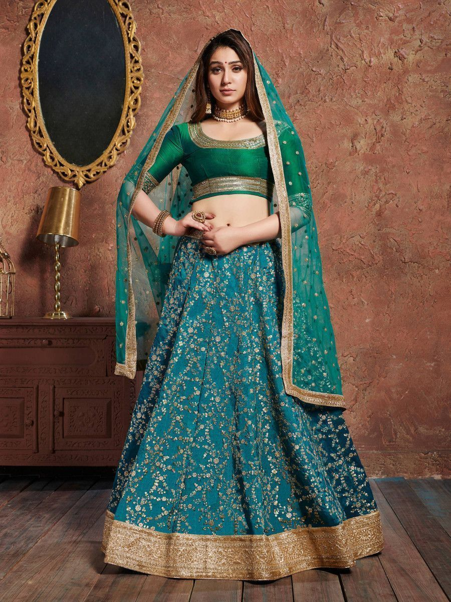 Teal Green Sequins Art Silk Wedding Lehenga Choli With Dupatta
