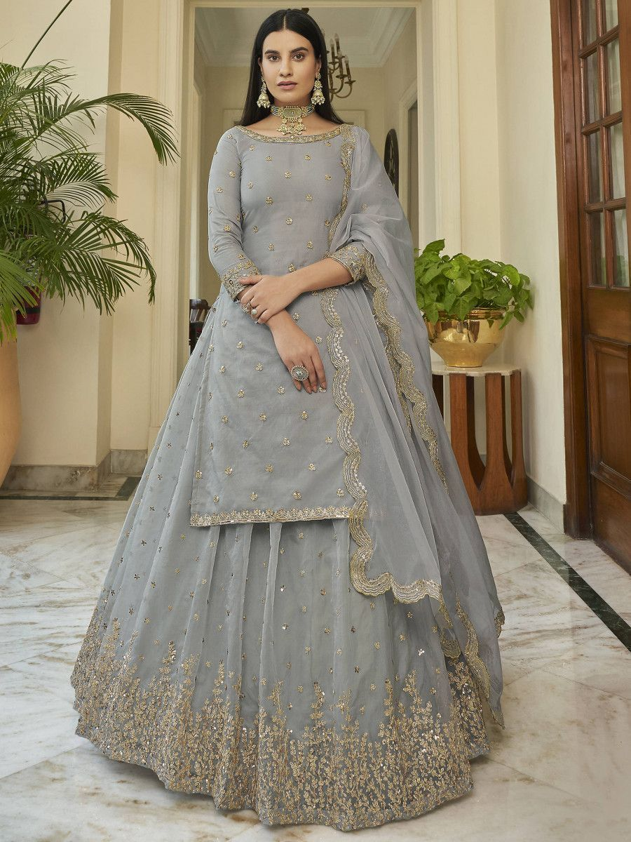 Grey Sequined Organza Party Wear Lehenga With Long Top