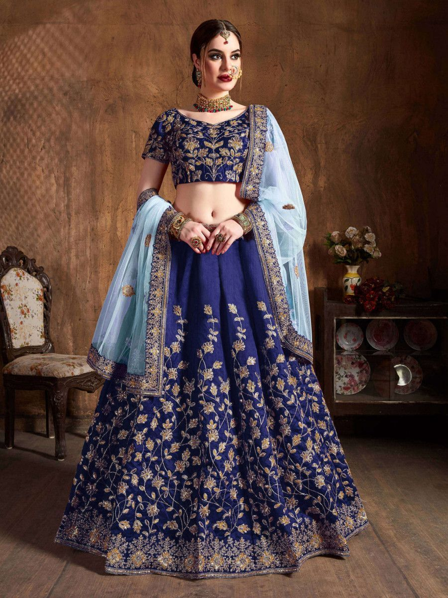 Navy Blue Sequins Raw Silk Bridal Lehenga Choli With Sky Blue Dupatta