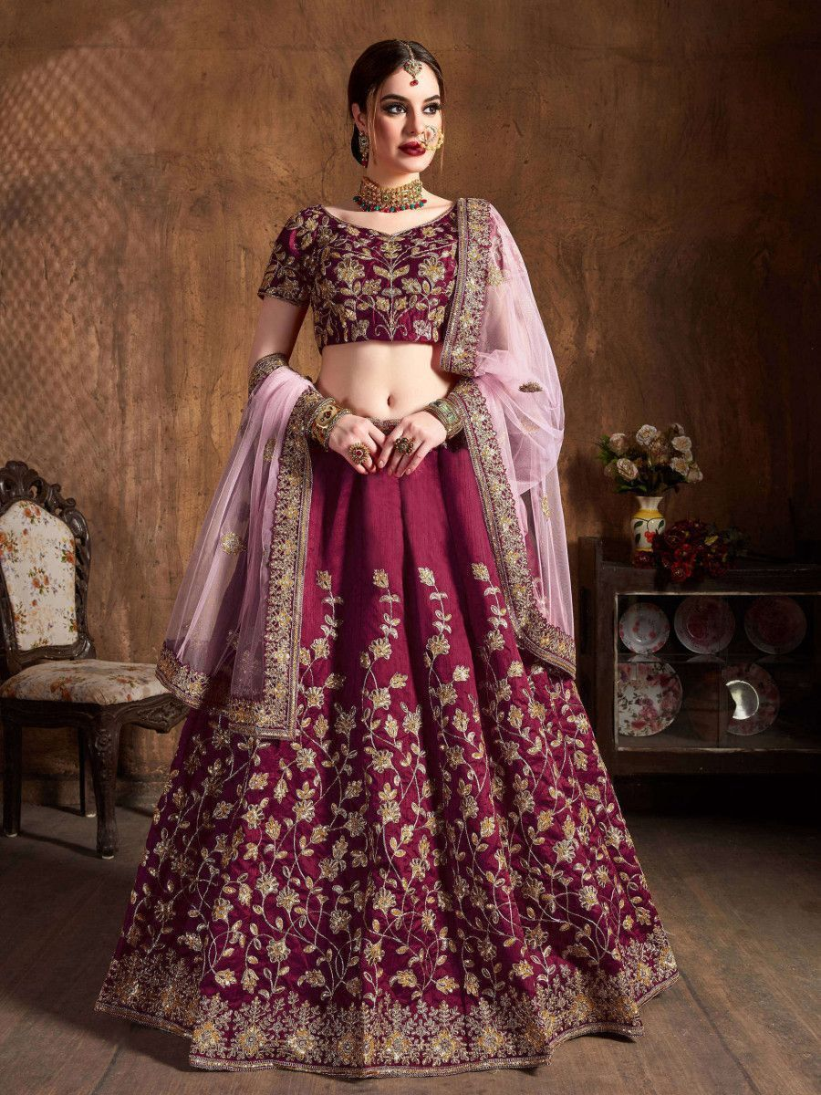 Maroon Sequins Raw Silk Bridal Lehenga Choli With Pink Dupatta