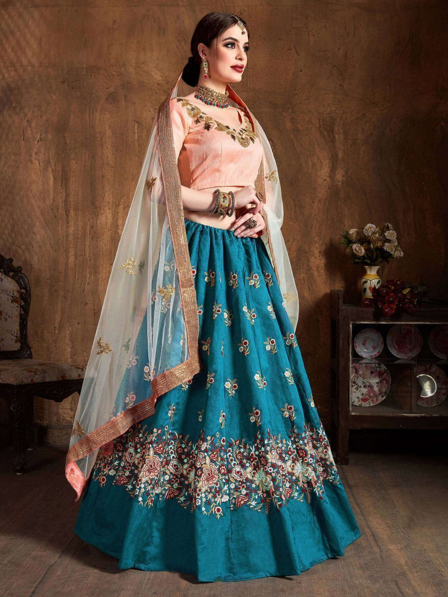 Teal Blue Thread Work Raw Silk Bridal Lehenga With Peach Choli And Off-White Dupatta