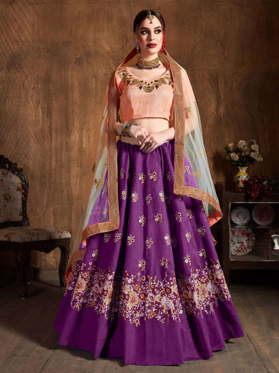 Purple Thread Work Raw Silk Bridal Lehenga With Peach Choli And Off-White Dupatta
