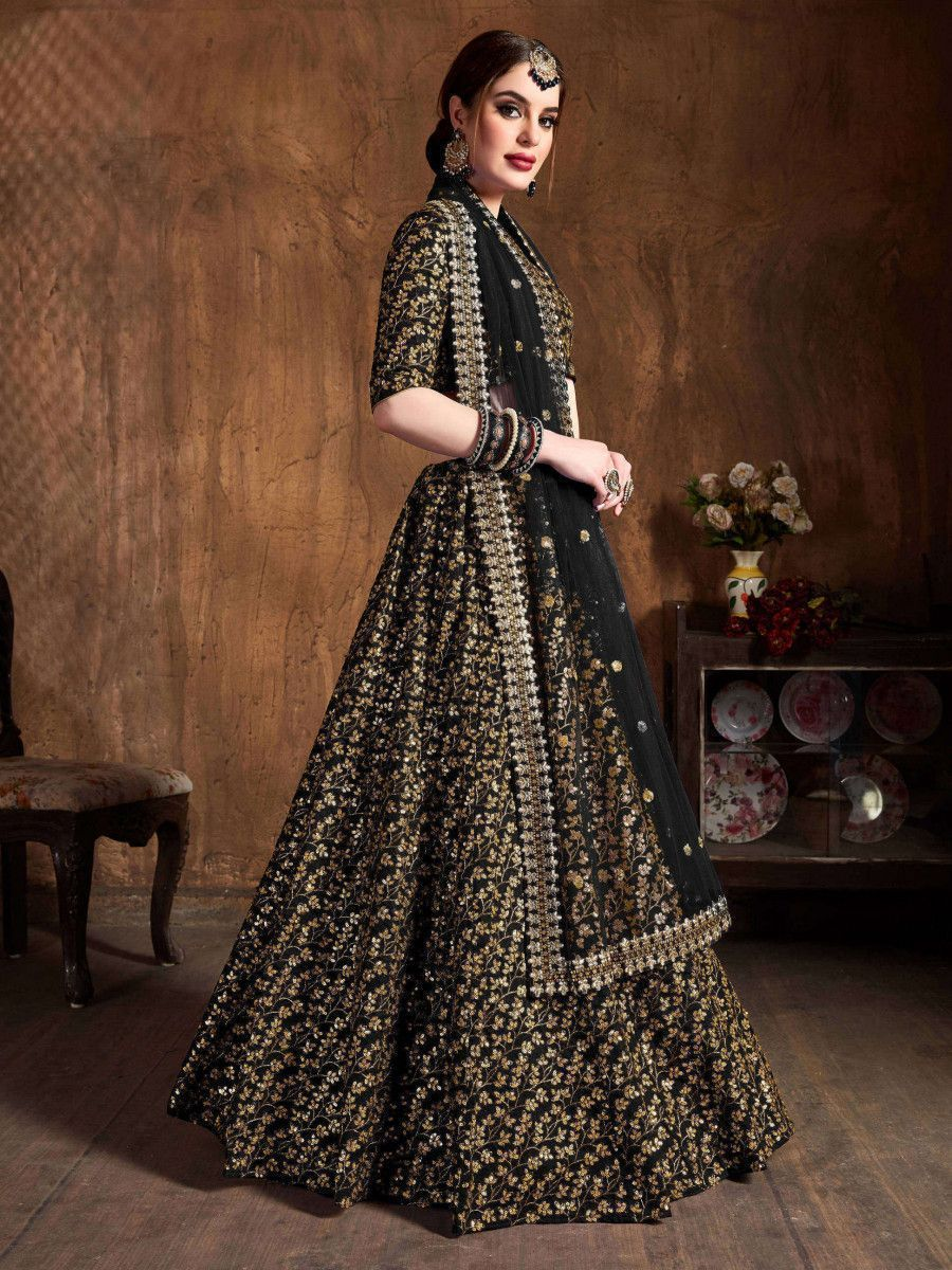 Black Zari Embroidery Raw Silk Wedding Lehenga Choli With Dupatta