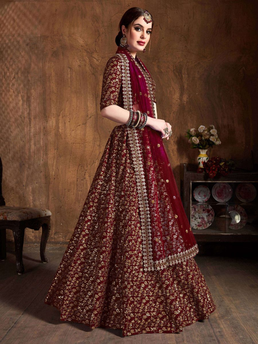 Maroon Zari Embroidery Raw Silk Wedding Lehenga Choli With Dupatta