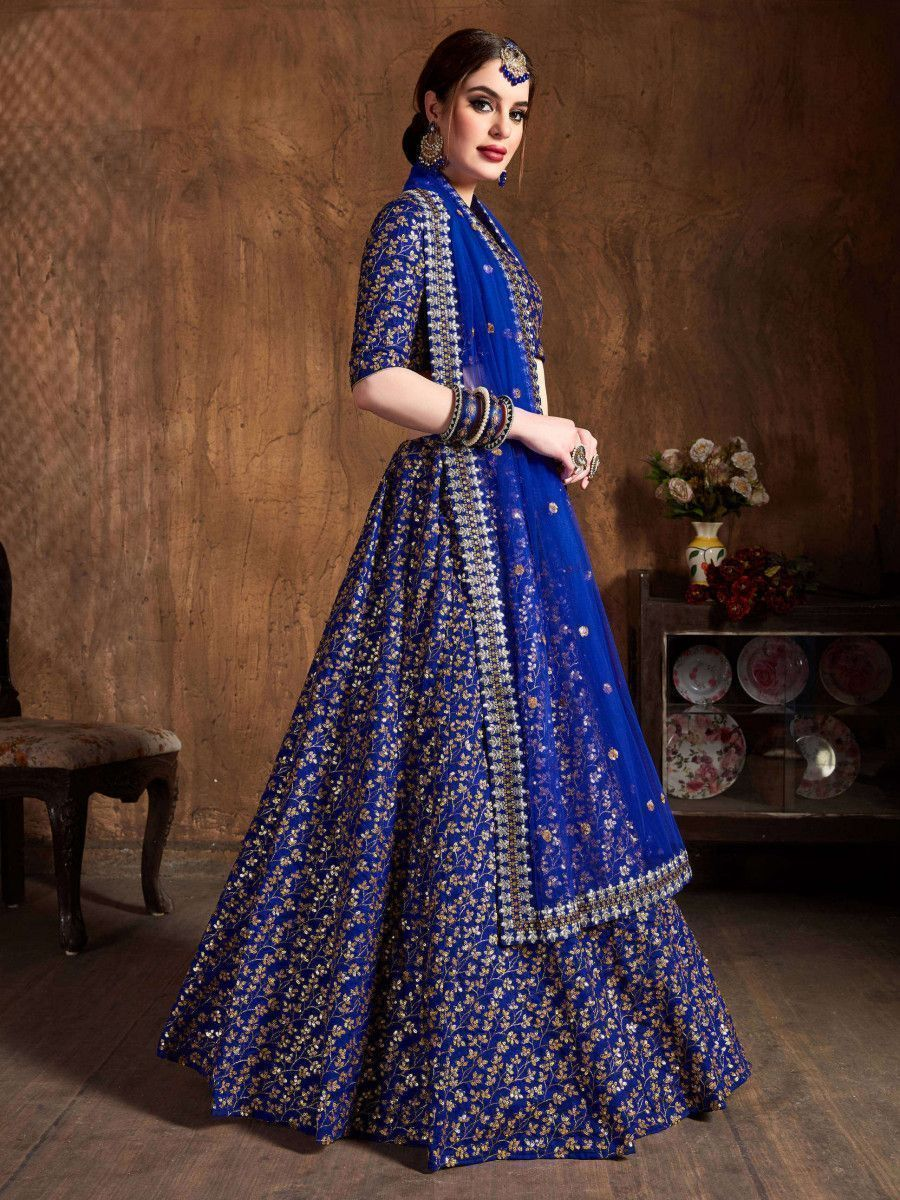 Blue Zari Embroidery Raw Silk Wedding Lehenga Choli With Dupatta