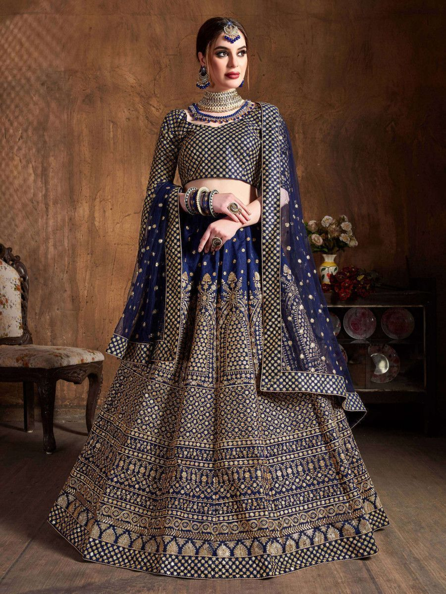 Navy Blue Sequins Raw Silk Wedding Lehenga Choli With Dupatta