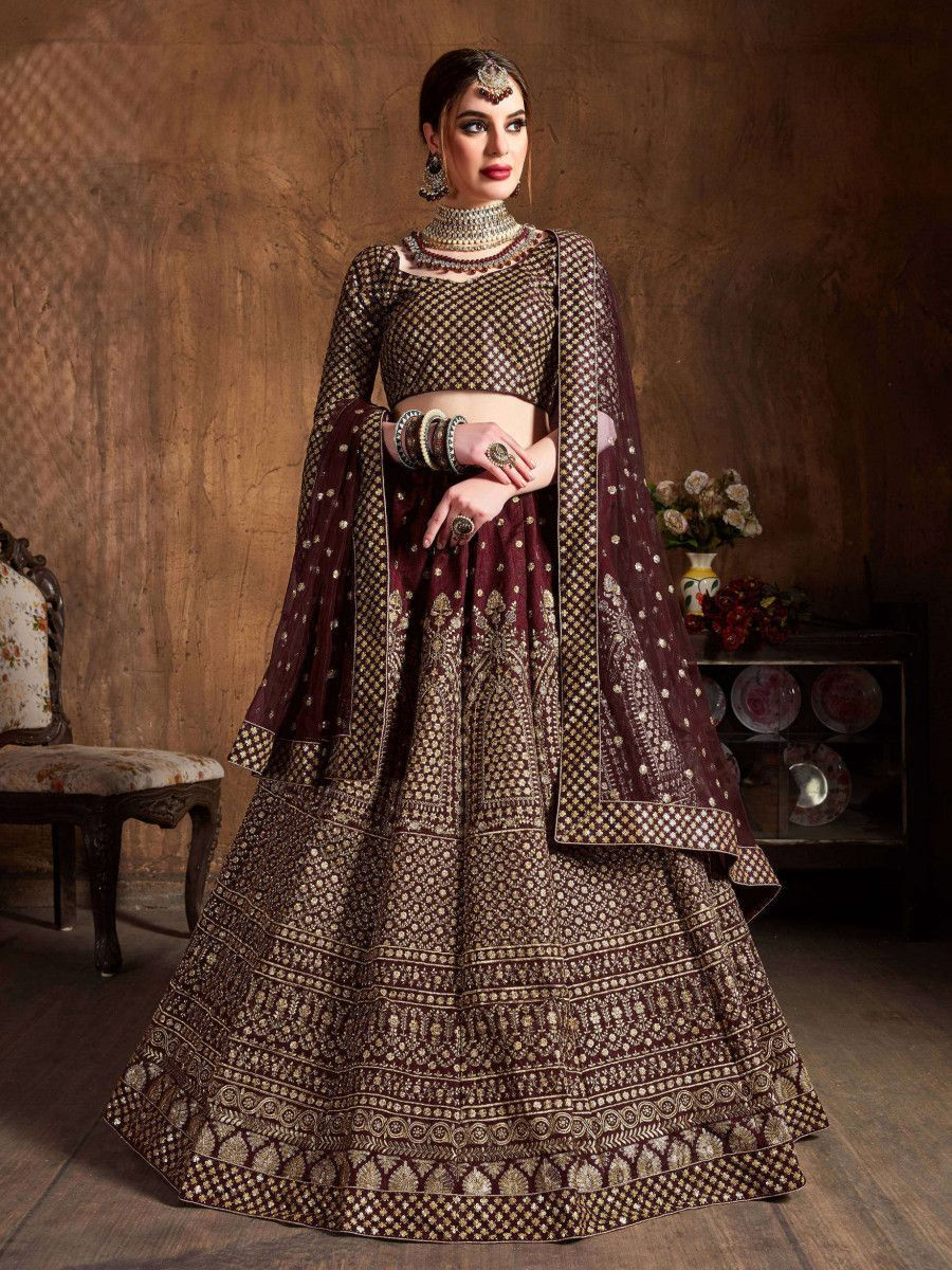 Maroon Sequins Raw Silk Wedding Lehenga Choli With Dupatta