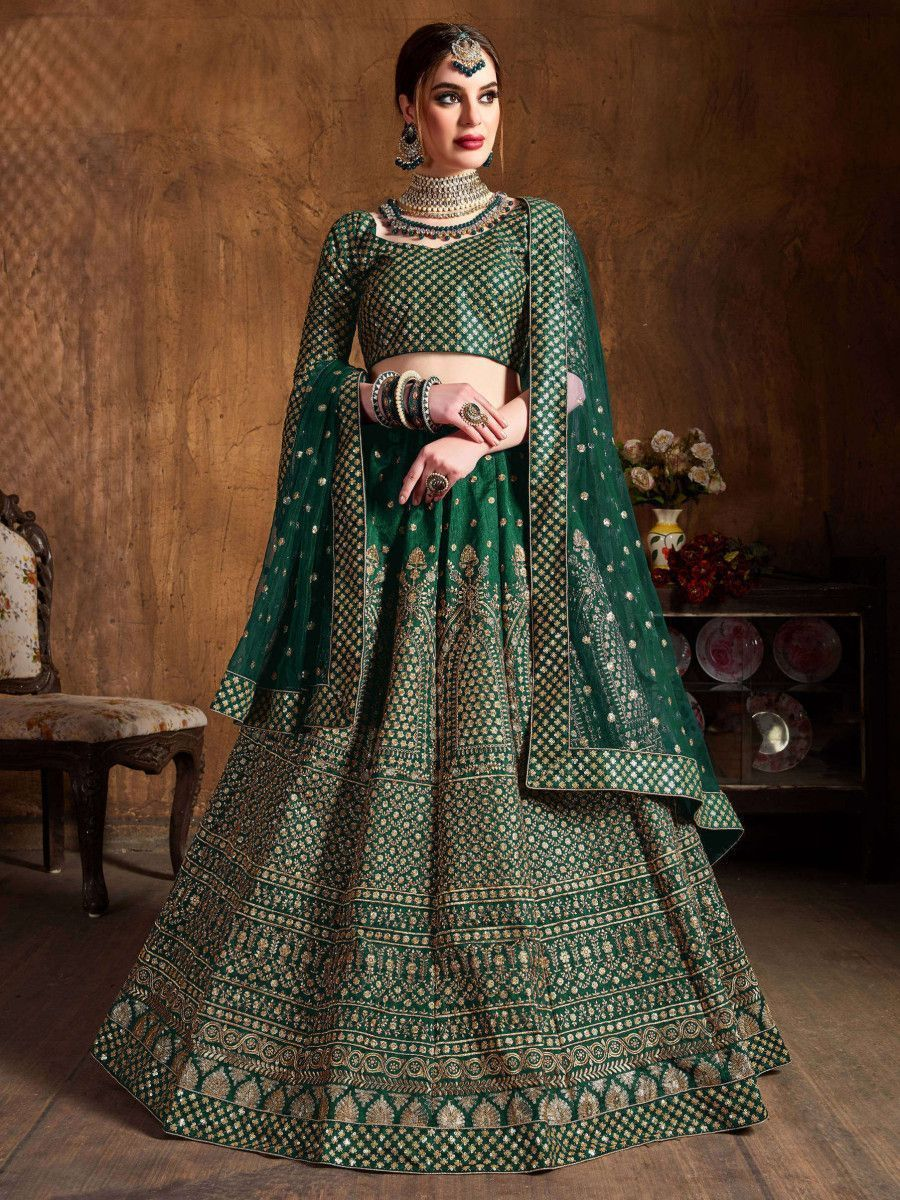 Bottle Green Sequins Raw Silk Wedding Lehenga Choli With Dupatta