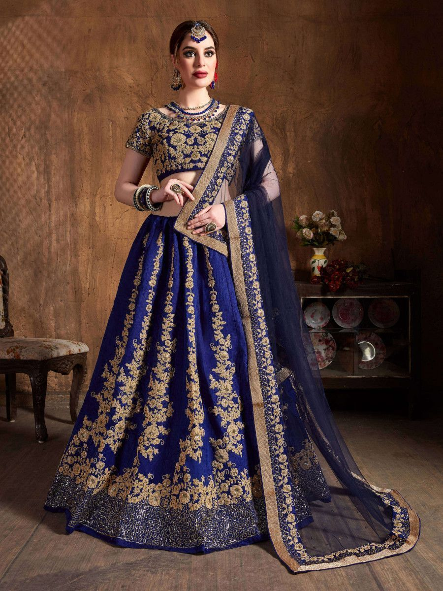 Navy Blue Embroidery Raw Silk Wedding Lehenga Choli With Dupatta