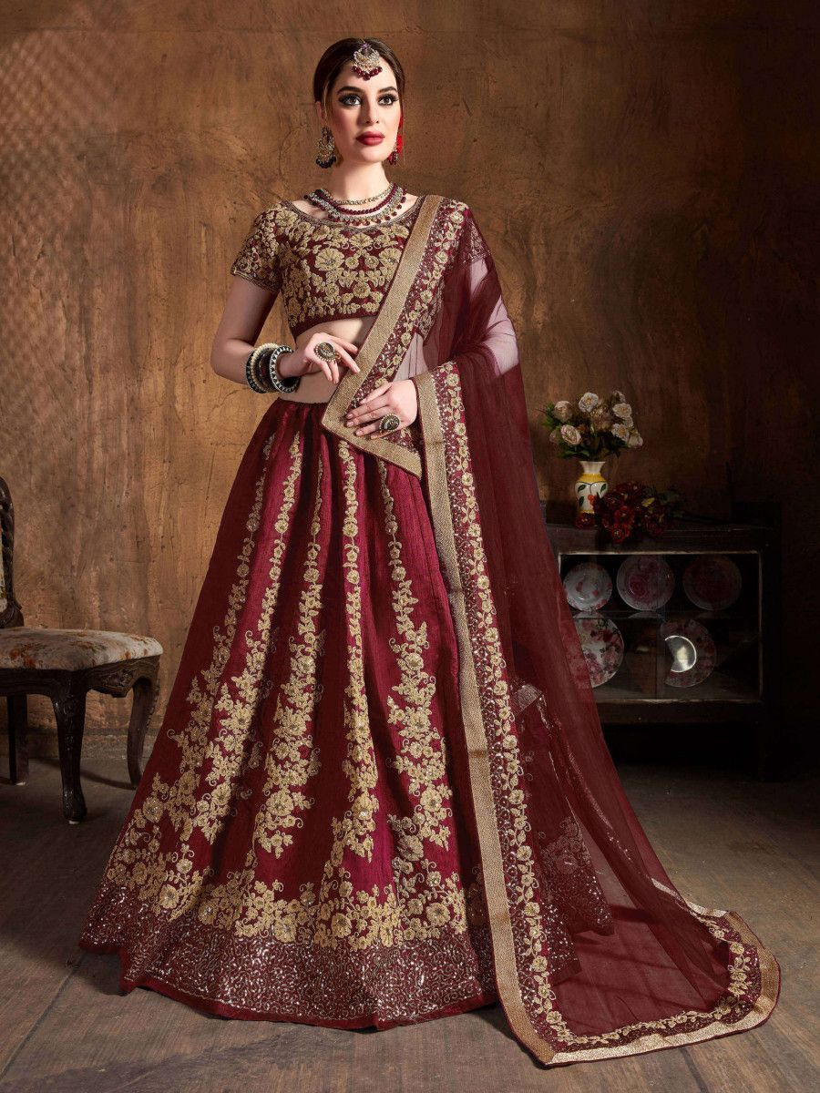 Maroon Embroidery Raw Silk Wedding Lehenga Choli With Dupatta