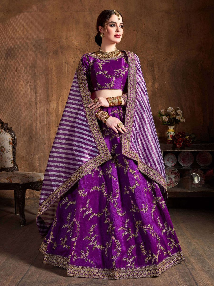 Purple Embroidery Mulberry Silk Bridal Lehenga Choli With Striped Dupatta