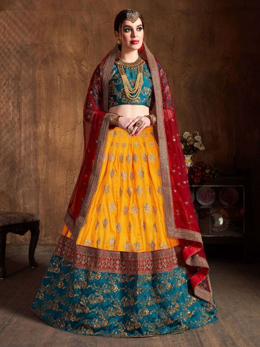 Teal Green -Yellow Embroidery Banarasi Silk Bridal Lehenga Choli With Maroon Dupatta