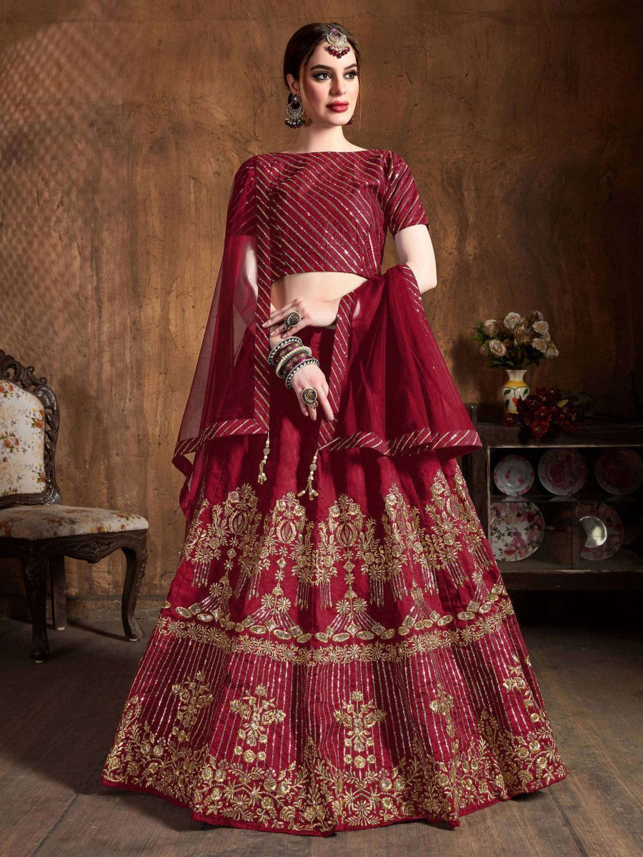 Red Zari Embroidery Art Silk Bridal Lehenga Choli With Dupatta