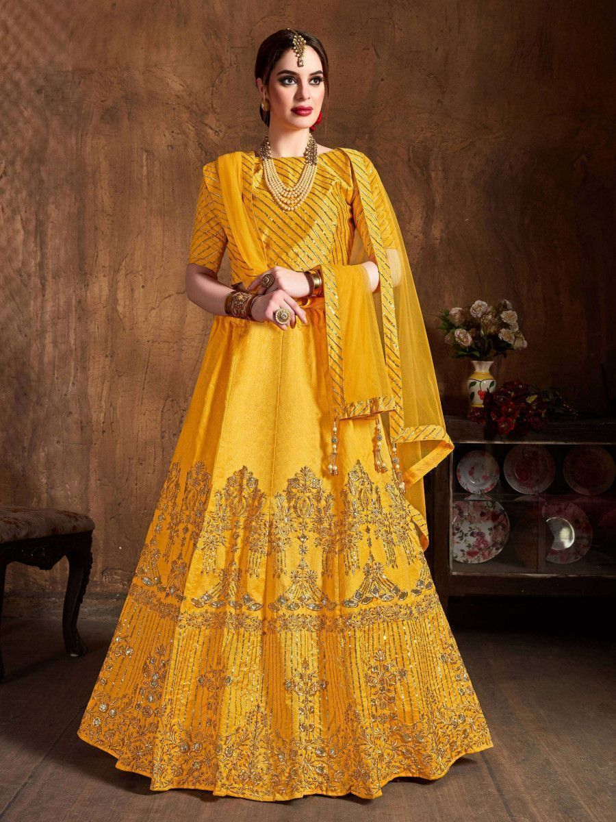 Yellow Zari Embroidery Art Silk Bridal Lehenga Choli With Dupatta