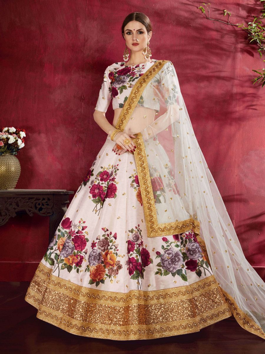 Off-White Floral Print Banglori  Silk Bridal Lehenga Choli With Dupatta
