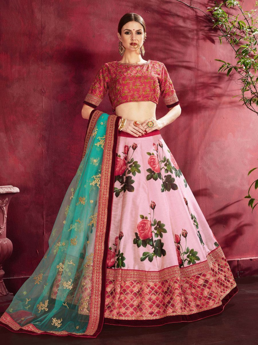 Rose Pink Floral Print Banglori  Silk Bridal Lehenga With Pink Choli And Turquoise Dupatta