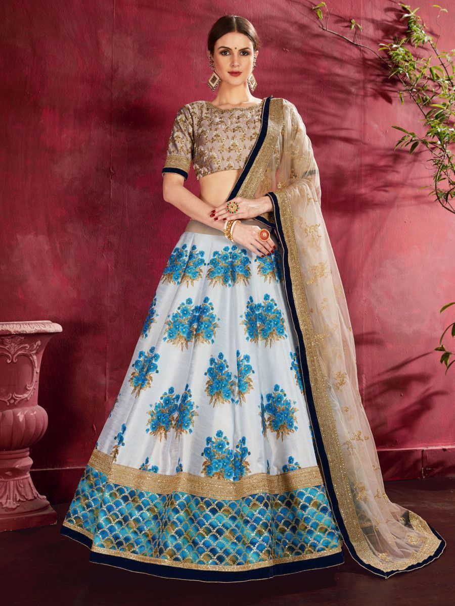 Blue Floral Print Banglori  Silk Bridal Lehenga With Beige Choli And Dupatta