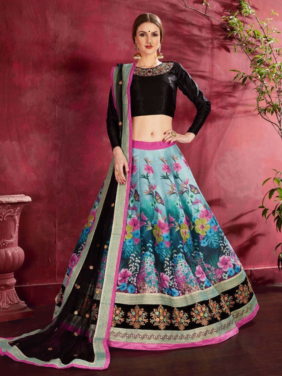 Multi Color Floral Printed Banglori Silk Bridal Lehenga With Black Choli