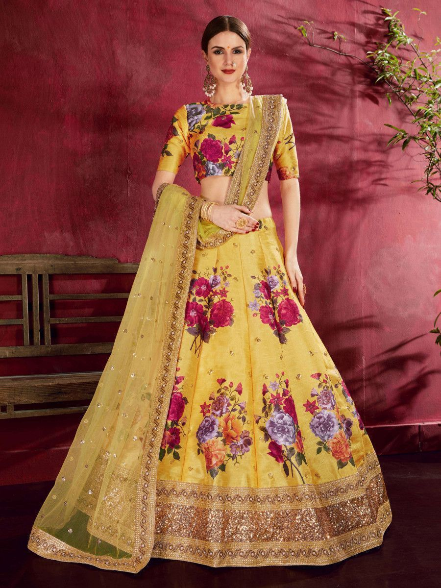 Yellow Floral Printed Banglori Silk Bridal Lehenga Choli With Dupatta
