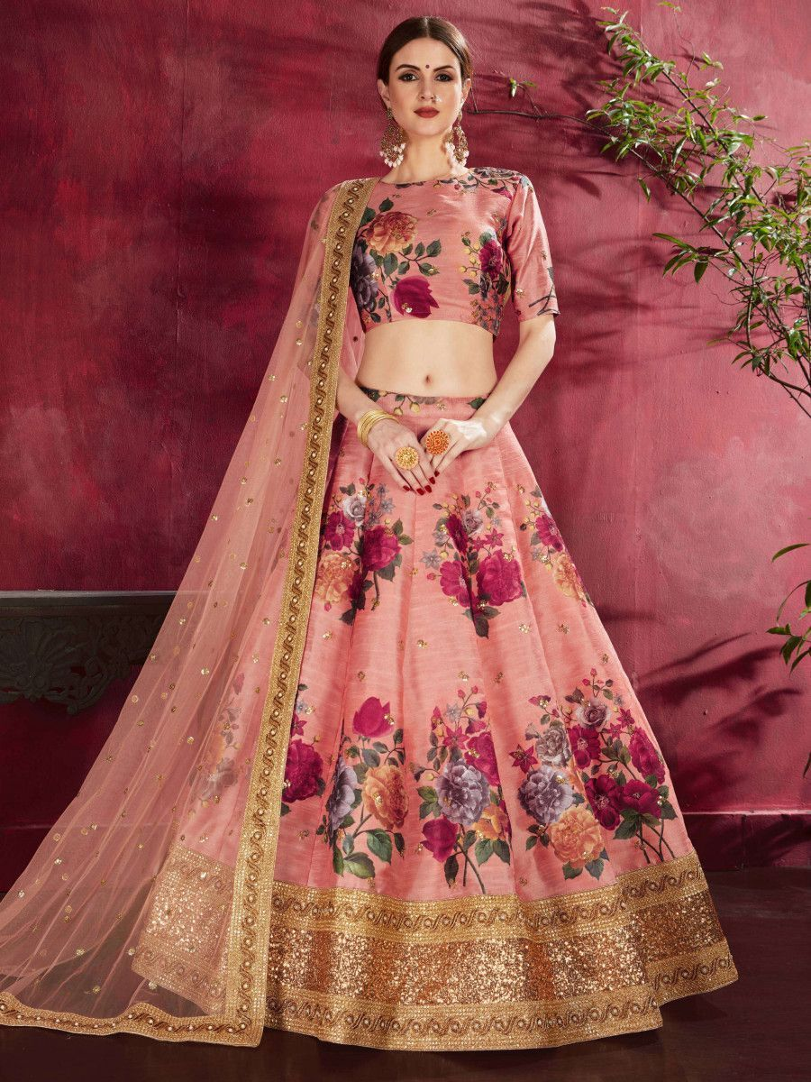 Peach Floral Printed Banglori Silk Bridal Lehenga Choli With Dupatta