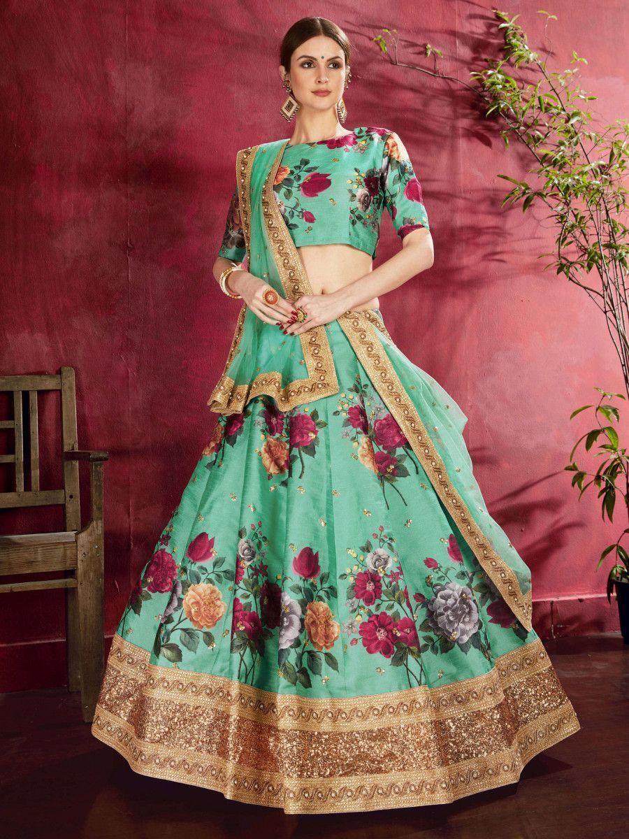 Green Floral Printed Banglori Silk Bridal Lehenga Choli With Dupatta