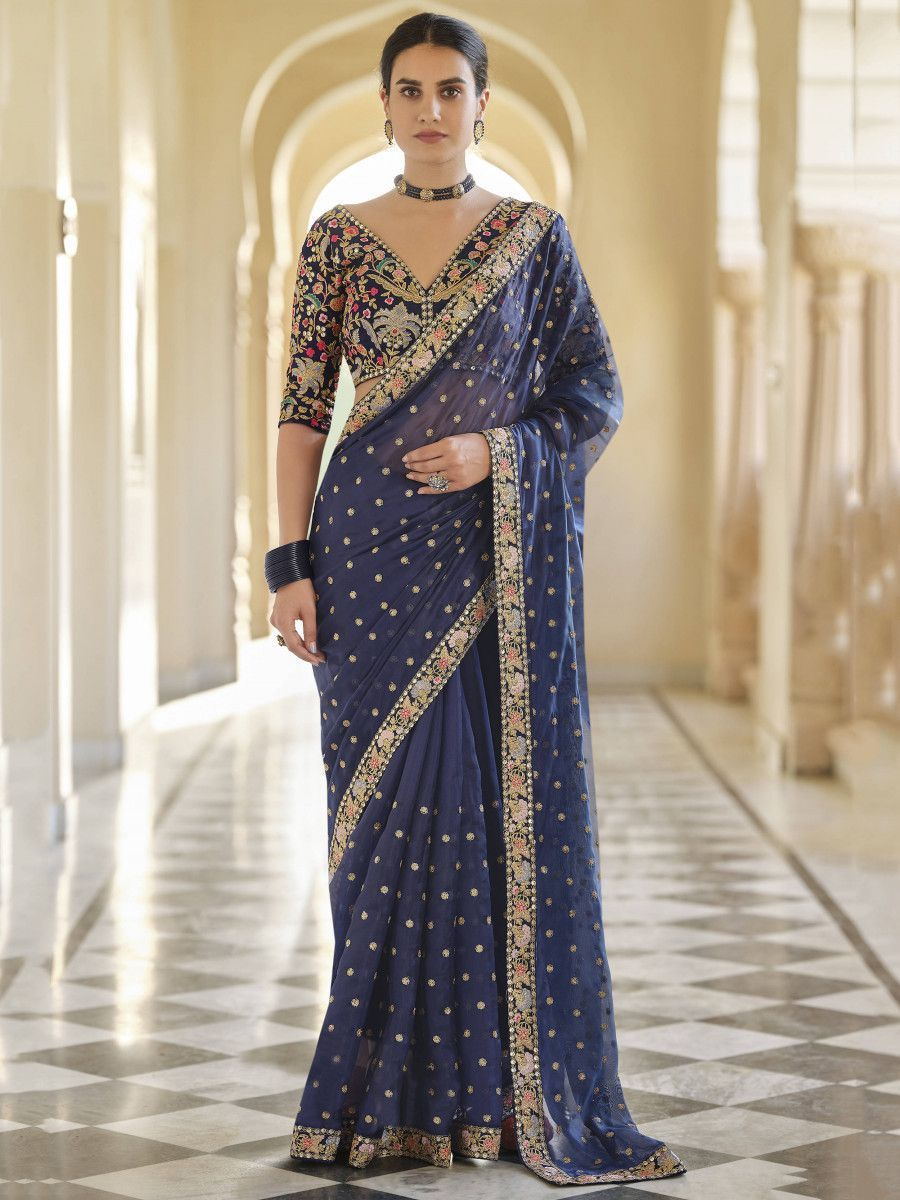 Navy Blue Sequined Organza Wedding Wear Saree With Blouse