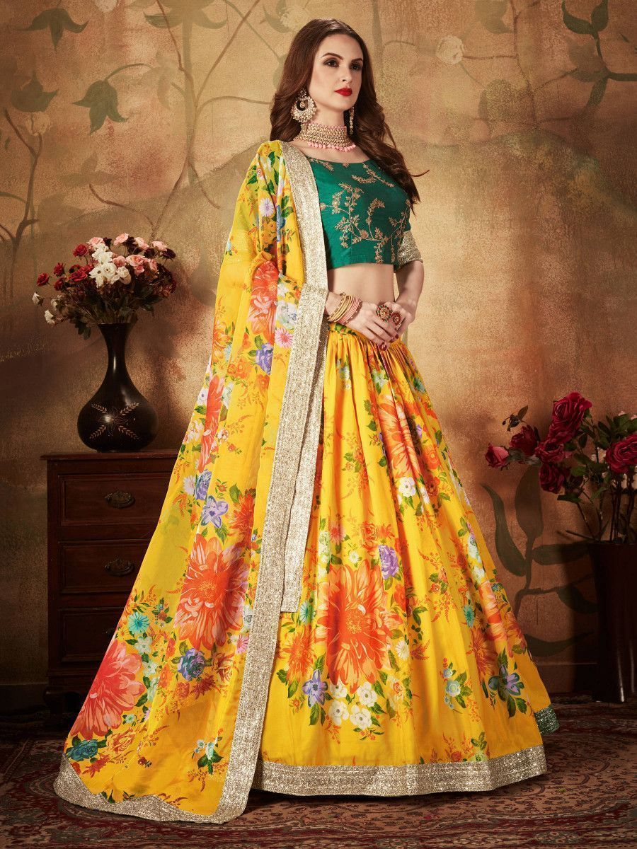 Yellow-Green Floral Digital Printed Organza Bridal Lehenga Choli