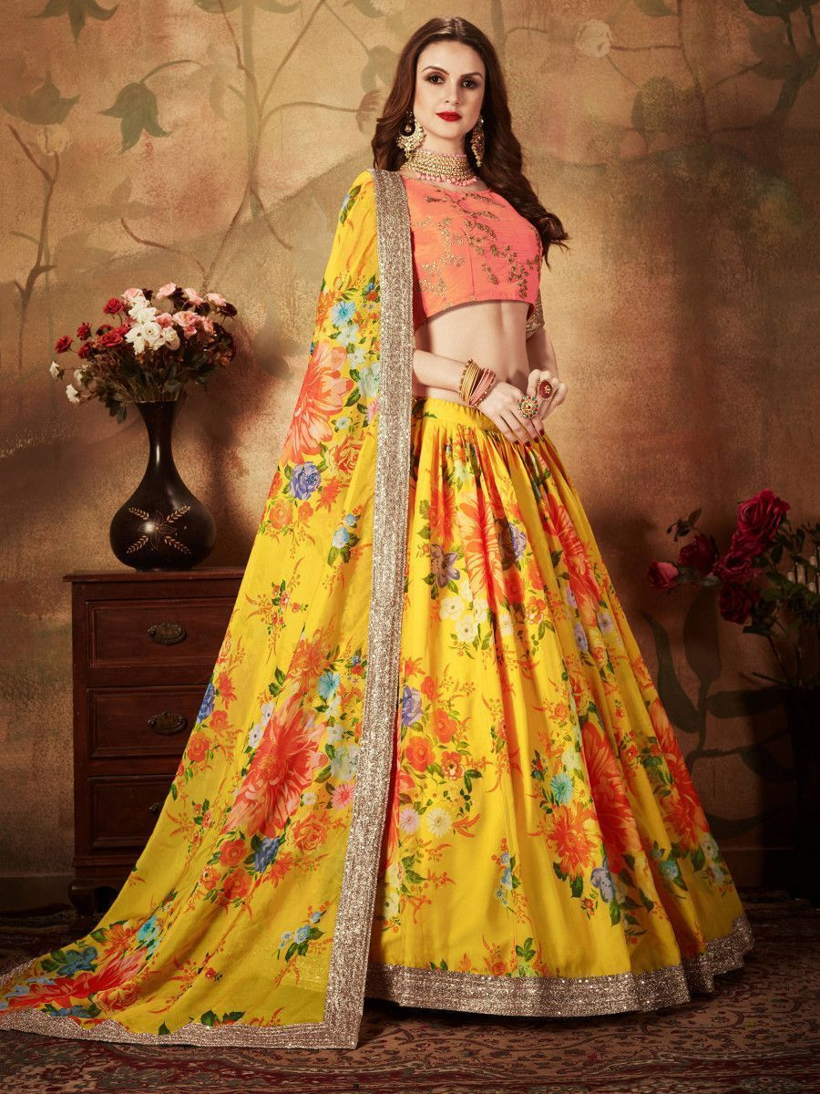 Yellow-Peach Floral Digital Printed Organza Bridal Lehenga Choli