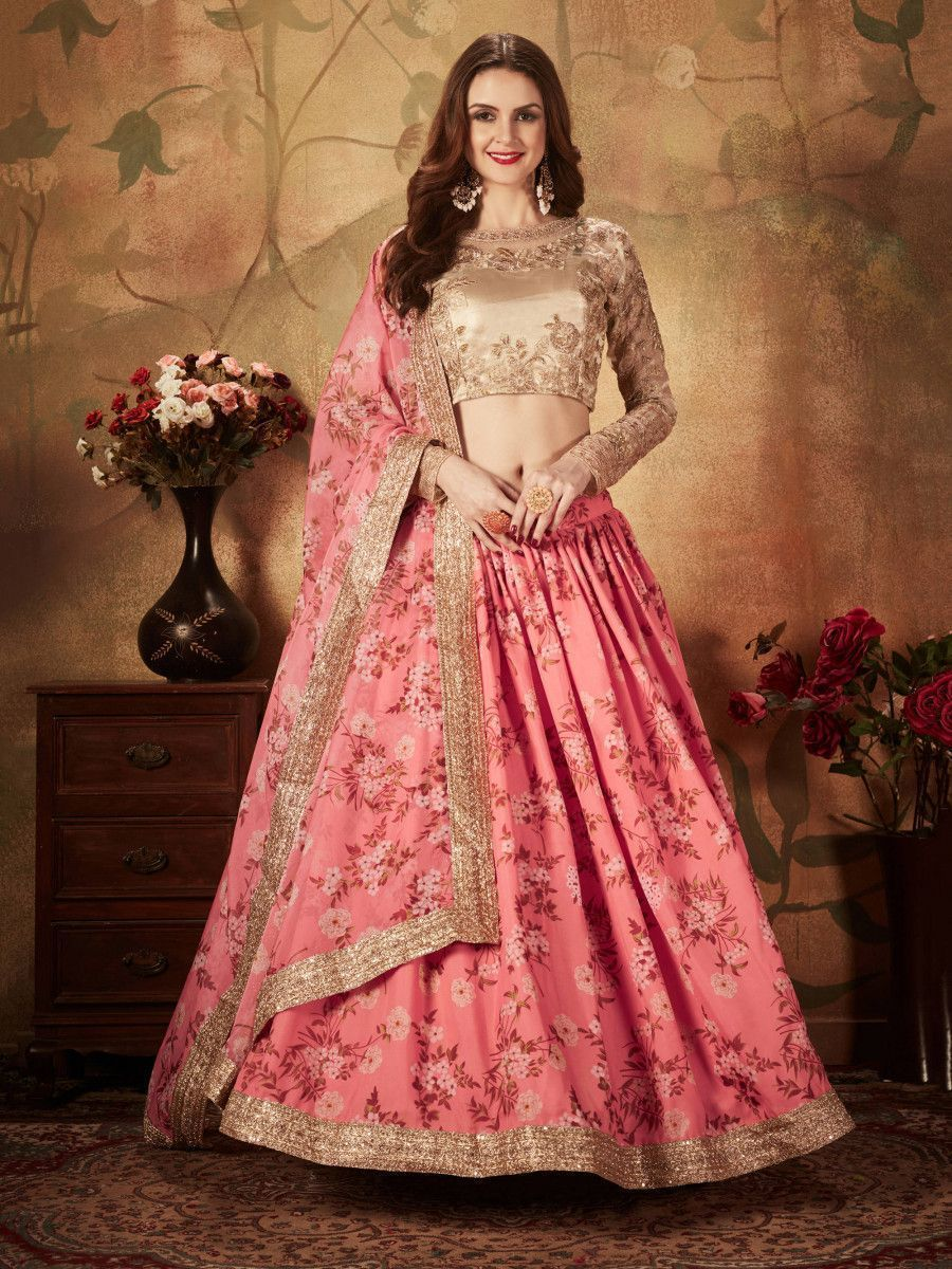 Pink Floral Digital Printed Organza Wedding Wear Lehenga Choli
