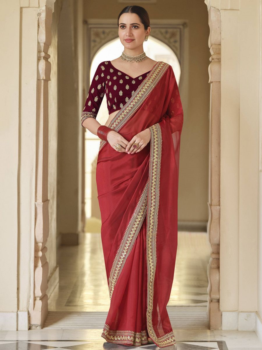 Red Embroidered Bordered Organza Festive Wear Saree