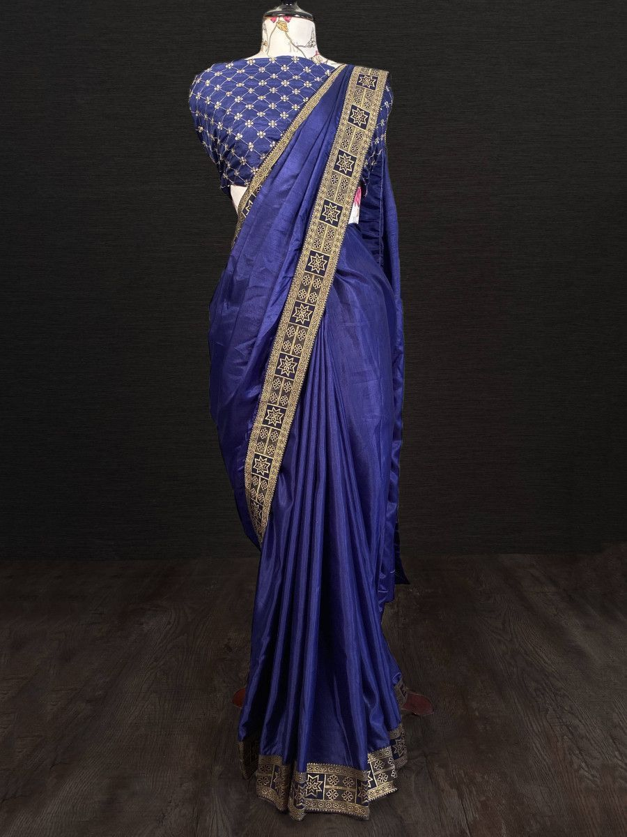 Navy Blue Bordered Silk Festival Wear Saree With Blouse