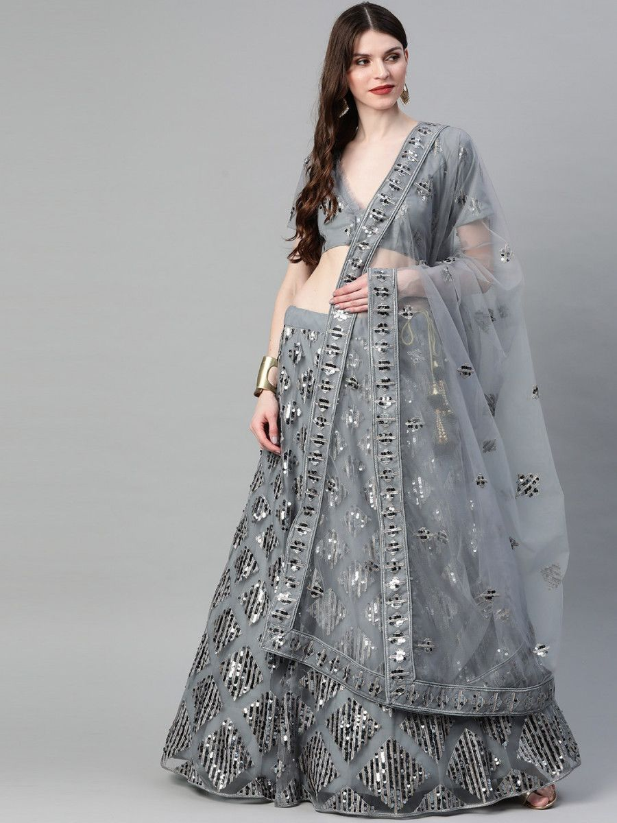 Grey Embellished Semi-Stitched Myntra Lehenga & Blouse with Dupatta