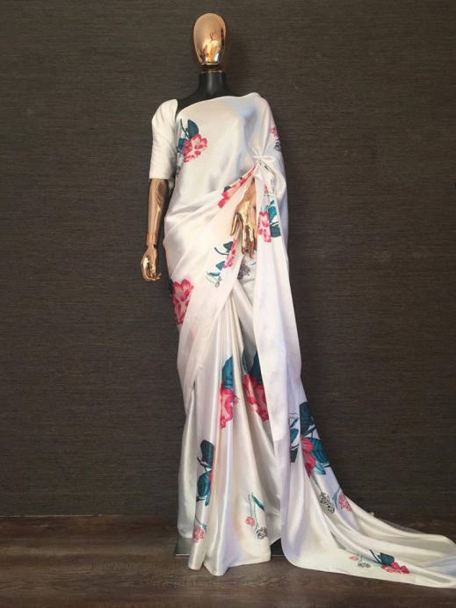 White Floral Printed Japan Satin Silk Casual Wear Saree