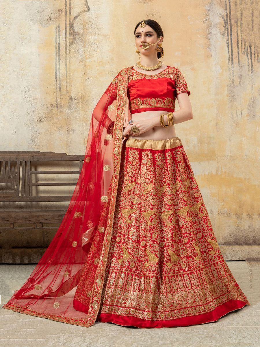 Red Sequence Embroidered Satin Wedding Lehenga Choli