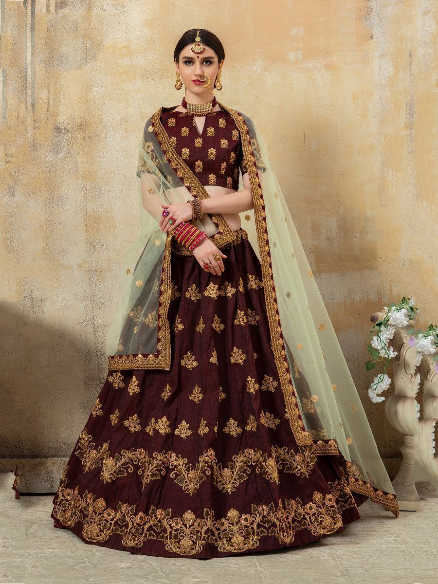 Maroon Embroidered Silk Bridal Lehenga With Green Dupatta