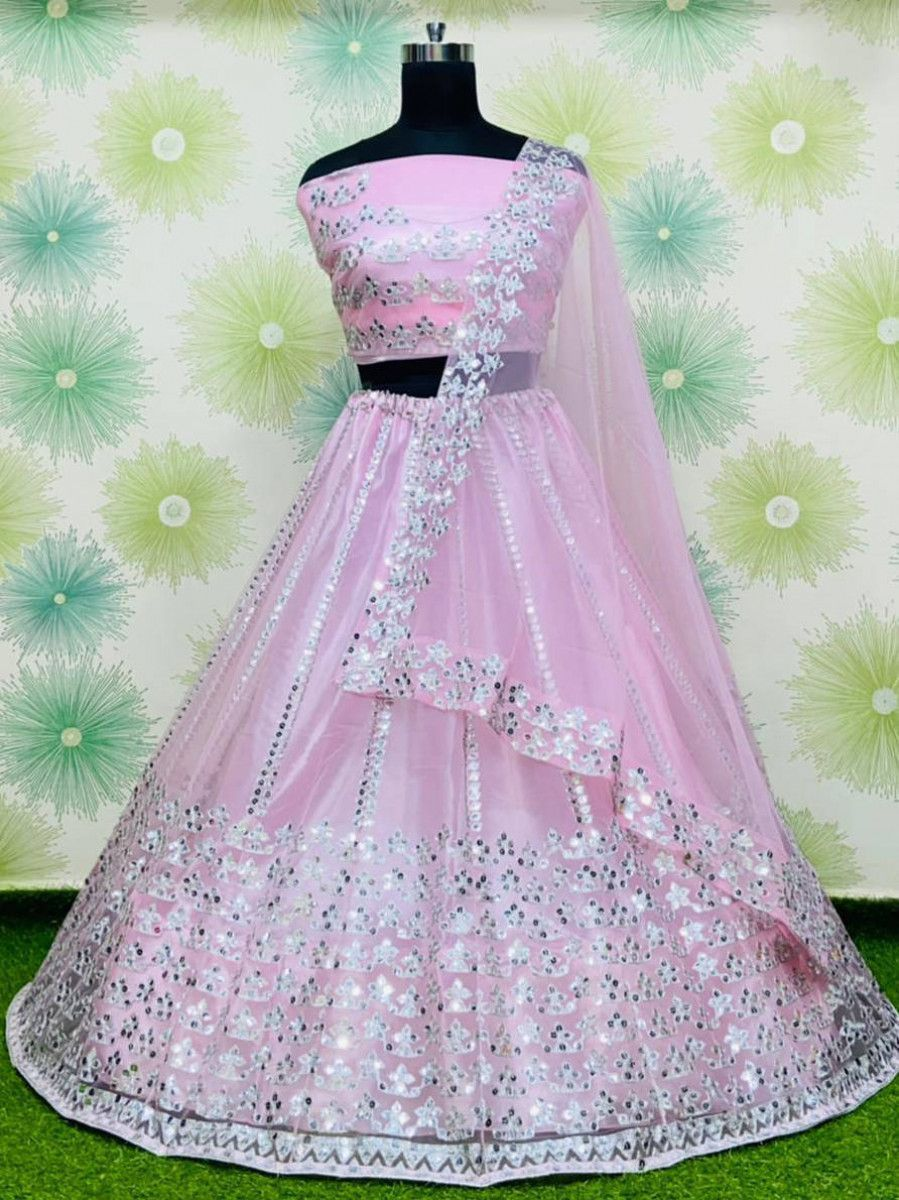 Light Pink Foil Work Net Party Wear Lehenga Choli