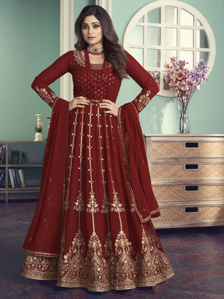 Maroon Sequined Georgette Wedding Wear Gown With Dupatta